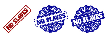 NO SLAVES grunge stamp seals in red and blue colors. Vector NO SLAVES marks with grunge texture. Graphic elements are rounded rectangles, rosettes, circles and text captions. Illustration