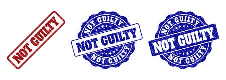 NOT GUILTY grunge stamp seals in red and blue colors. Vector NOT GUILTY labels with grunge effect. Graphic elements are rounded rectangles, rosettes, circles and text tags. Illustration