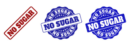 NO SUGAR grunge stamp seals in red and blue colors. Vector NO SUGAR marks with scratced texture. Graphic elements are rounded rectangles, rosettes, circles and text labels.