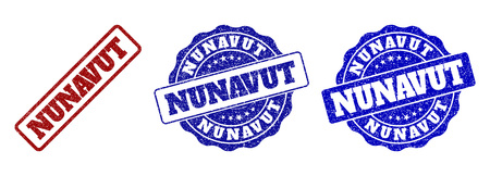 NUNAVUT scratched stamp seals in red and blue colors. Vector NUNAVUT labels with grainy surface. Graphic elements are rounded rectangles, rosettes, circles and text labels.