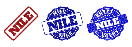 NILE grunge stamp seals in red and blue colors. Vector NILE watermarks with dirty style. Graphic elements are rounded rectangles, rosettes, circles and text tags. Designed for rubber stamp imitations.
