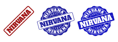 NIRVANA scratched stamp seals in red and blue colors. Vector NIRVANA marks with grunge texture. Graphic elements are rounded rectangles, rosettes, circles and text captions.