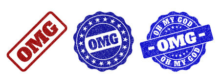 OMG grunge stamp seals in red and blue colors. Vector OMG labels with grainy surface. Graphic elements are rounded rectangles, rosettes, circles and text labels. Designed for rubber stamp imitations.