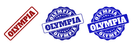 OLYMPIA scratched stamp seals in red and blue colors. Vector OLYMPIA imprints with draft effect. Graphic elements are rounded rectangles, rosettes, circles and text titles. Illustration