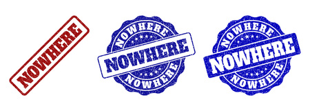 NOWHERE scratched stamp seals in red and blue colors. Vector NOWHERE imprints with draft texture. Graphic elements are rounded rectangles, rosettes, circles and text labels. Illustration