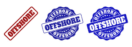 OFFSHORE grunge stamp seals in red and blue colors. Vector OFFSHORE watermarks with grunge effect. Graphic elements are rounded rectangles, rosettes, circles and text labels.