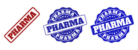 PHARMA grunge stamp seals in red and blue colors. Vector PHARMA labels with draft texture. Graphic elements are rounded rectangles, rosettes, circles and text labels.