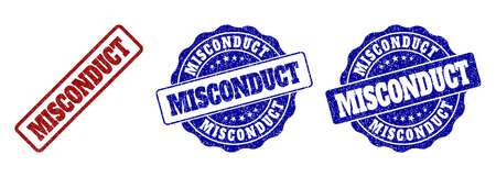 MISCONDUCT scratched stamp seals in red and blue colors. Vector MISCONDUCT watermarks with distress effect. Graphic elements are rounded rectangles, rosettes, circles and text titles. Illustration