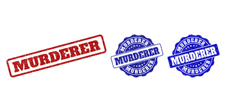 MURDERER scratched stamp seals in red and blue colors. Vector MURDERER labels with draft effect. Graphic elements are rounded rectangles, rosettes, circles and text titles. Illustration