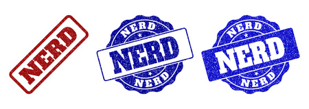 NERD scratched stamp seals in red and blue colors. Vector NERD imprints with distress effect. Graphic elements are rounded rectangles, rosettes, circles and text titles.