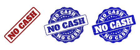 NO CASH grunge stamp seals in red and blue colors. Vector NO CASH labels with scratced effect. Graphic elements are rounded rectangles, rosettes, circles and text labels.