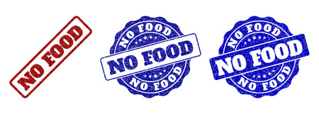 NO FOOD grunge stamp seals in red and blue colors. Vector NO FOOD labels with draft surface. Graphic elements are rounded rectangles, rosettes, circles and text labels. Illustration