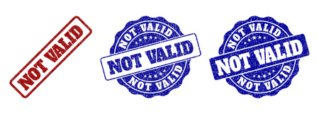 NOT VALID grunge stamp seals in red and blue colors. Vector NOT VALID signs with grunge style. Graphic elements are rounded rectangles, rosettes, circles and text captions. Illustration