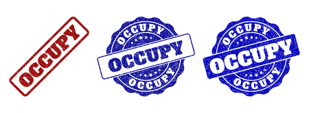 OCCUPY grunge stamp seals in red and blue colors. Vector OCCUPY labels with dirty surface. Graphic elements are rounded rectangles, rosettes, circles and text labels. Vectores