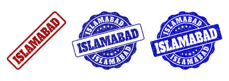 ISLAMABAD grunge stamp seals in red and blue colors. Vector ISLAMABAD marks with dirty style. Graphic elements are rounded rectangles, rosettes, circles and text titles.