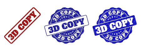 3D COPY grunge stamp seals in red and blue colors. Vector 3D COPY signs with grunge effect. Graphic elements are rounded rectangles, rosettes, circles and text captions.