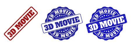 3D MOVIE grunge stamp seals in red and blue colors. Vector 3D MOVIE watermarks with grunge style. Graphic elements are rounded rectangles, rosettes, circles and text captions. Illustration