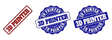 3D PRINTER scratched stamp seals in red and blue colors. Vector 3D PRINTER labels with distress effect. Graphic elements are rounded rectangles, rosettes, circles and text labels.