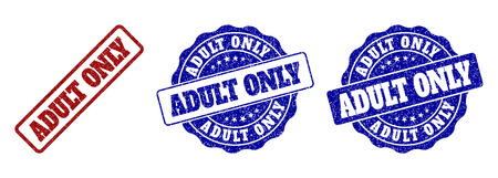 ADULT ONLY grunge stamp seals in red and blue colors. Vector ADULT ONLY labels with distress surface. Graphic elements are rounded rectangles, rosettes, circles and text titles.