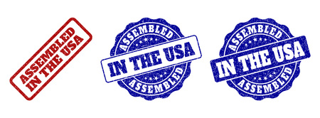ASSEMBLED IN THE USA grunge stamp seals in red and blue colors. Vector ASSEMBLED IN THE USA overlays with grunge texture. Graphic elements are rounded rectangles, rosettes, circles and text captions. Ilustração