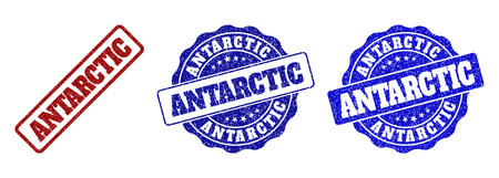 ANTARCTIC grunge stamp seals in red and blue colors. Vector ANTARCTIC overlays with grunge texture. Graphic elements are rounded rectangles, rosettes, circles and text titles.