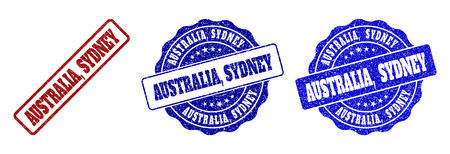 AUSTRALIA, SYDNEY grunge stamp seals in red and blue colors. Vector AUSTRALIA, SYDNEY labels with draft texture. Graphic elements are rounded rectangles, rosettes, circles and text labels.