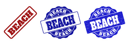 BEACH scratched stamp seals in red and blue colors. Vector BEACH overlays with draft texture. Graphic elements are rounded rectangles, rosettes, circles and text tags.