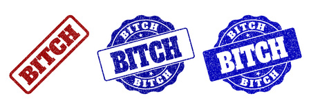 BITCH scratched stamp seals in red and blue colors. Vector BITCH imprints with grunge texture. Graphic elements are rounded rectangles, rosettes, circles and text labels.