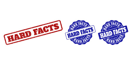 HARD FACTS grunge stamp seals in red and blue colors. Vector HARD FACTS watermarks with grunge texture. Graphic elements are rounded rectangles, rosettes, circles and text labels.