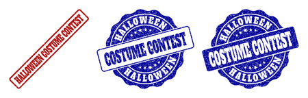 HALLOWEEN COSTUME CONTEST grunge stamp seals in red and blue colors. Vector HALLOWEEN COSTUME CONTEST imprints with grunge texture. Graphic elements are rounded rectangles, rosettes, Vector Illustration