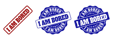 I AM BORED grunge stamp seals in red and blue colors. Vector I AM BORED imprints with grunge effect. Graphic elements are rounded rectangles, rosettes, circles and text titles.