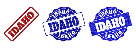 IDAHO grunge stamp seals in red and blue colors. Vector IDAHO labels with draft style. Graphic elements are rounded rectangles, rosettes, circles and text labels. Designed for rubber stamp imitations.