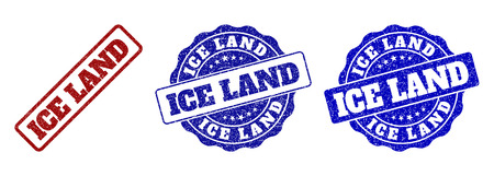 ICE LAND scratched stamp seals in red and blue colors. Vector ICE LAND labels with dirty style. Graphic elements are rounded rectangles, rosettes, circles and text labels.