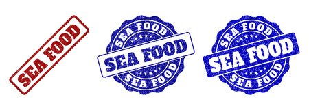 SEA FOOD grunge stamp seals in red and blue colors. Vector SEA FOOD marks with grunge effect. Graphic elements are rounded rectangles, rosettes, circles and text captions.