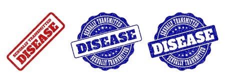 SEXUALLY TRANSMITTED DISEASE scratched stamp seals in red and blue colors. Vector SEXUALLY TRANSMITTED DISEASE signs with dirty style. Graphic elements are rounded rectangles, rosettes,