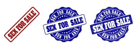 SEX FOR SALE grunge stamp seals in red and blue colors. Vector SEX FOR SALE labels with grunge surface. Graphic elements are rounded rectangles, rosettes, circles and text tags.
