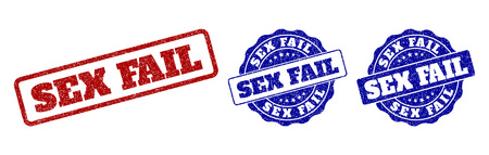 SEX FAIL grunge stamp seals in red and blue colors. Vector SEX FAIL labels with draft texture. Graphic elements are rounded rectangles, rosettes, circles and text labels.