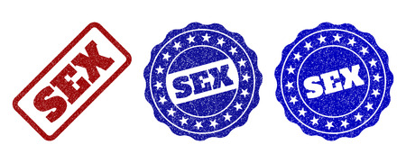 SEX scratched stamp seals in red and blue colors. Vector SEX watermarks with grunge texture. Graphic elements are rounded rectangles, rosettes, circles and text titles.