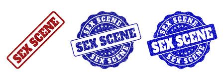 SEX-SZENE-Grunge-Stempelsiegel in roten und blauen Farben. Vektor-SEX-SZENE-Zeichen mit Grunge-Textur. Grafische Elemente sind abgerundete Rechtecke, Rosetten, Kreise und Beschriftungen.