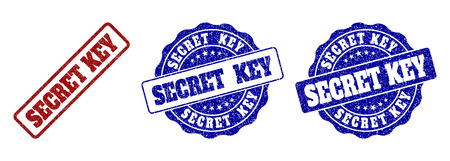 SECRET KEY grunge stamp seals in red and blue colors. Vector SECRET KEY marks with grunge style. Graphic elements are rounded rectangles, rosettes, circles and text labels.