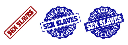 SEX SLAVES scratched stamp seals in red and blue colors. Vector SEX SLAVES labels with grunge surface. Graphic elements are rounded rectangles, rosettes, circles and text labels. Illustration