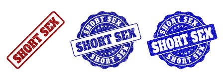 SHORT SEX grunge stamp seals in red and blue colors. Vector SHORT SEX signs with grunge style. Graphic elements are rounded rectangles, rosettes, circles and text titles.