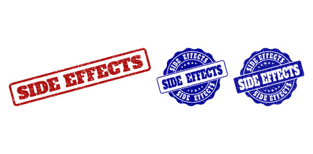 SIDE EFFECTS scratched stamp seals in red and blue colors. Vector SIDE EFFECTS labels with distress texture. Graphic elements are rounded rectangles, rosettes, circles and text tags.
