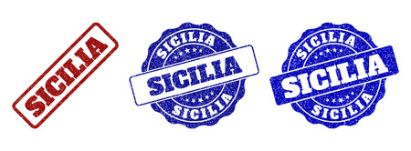 SICILIA grunge stamp seals in red and blue colors. Vector SICILIA signs with grunge style. Graphic elements are rounded rectangles, rosettes, circles and text captions.
