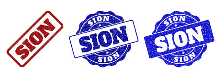 SION scratched stamp seals in red and blue colors. Vector SION watermarks with scratced texture. Graphic elements are rounded rectangles, rosettes, circles and text titles. Ilustração