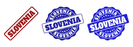 SLOVENIA scratched stamp seals in red and blue colors. Vector SLOVENIA labels with draft surface. Graphic elements are rounded rectangles, rosettes, circles and text labels.