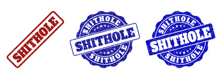 SHITHOLE grunge stamp seals in red and blue colors. Vector SHITHOLE overlays with grunge effect. Graphic elements are rounded rectangles, rosettes, circles and text labels.
