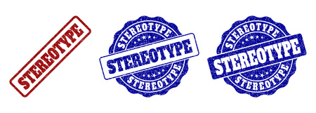 STEREOTYPE grunge stamp seals in red and blue colors. Vector STEREOTYPE signs with scratced style. Graphic elements are rounded rectangles, rosettes, circles and text captions.