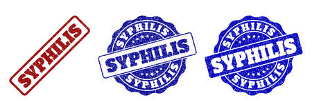 SYPHILIS grunge stamp seals in red and blue colors. Vector SYPHILIS labels with grunge surface. Graphic elements are rounded rectangles, rosettes, circles and text labels. Illustration
