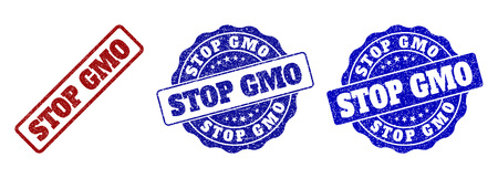 STOP GMO grunge stamp seals in red and blue colors. Vector STOP GMO labels with dirty style. Graphic elements are rounded rectangles, rosettes, circles and text labels. Ilustracja